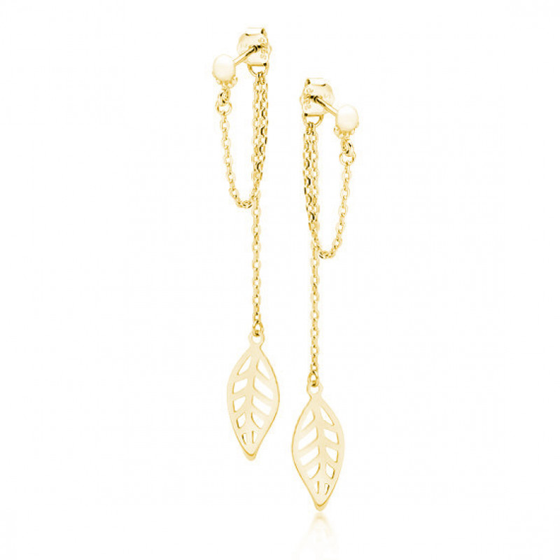 Yellow gold-plated silver earrings, Chains with a leaf