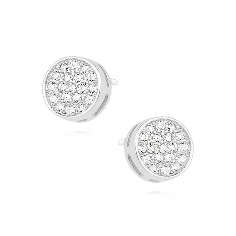 Silver round earrings with zircon