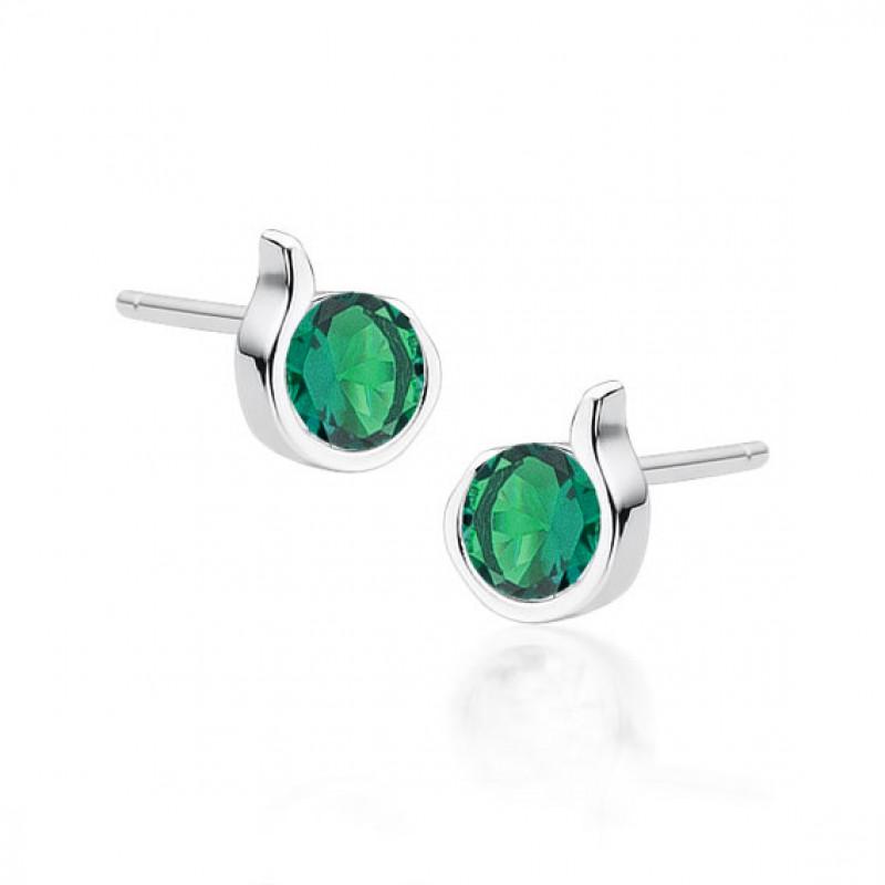 Hõbe kõrvarõngad smaragdtsirkooniga
