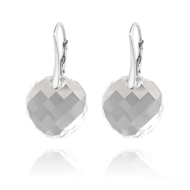 Silver Earrings Twist, White
