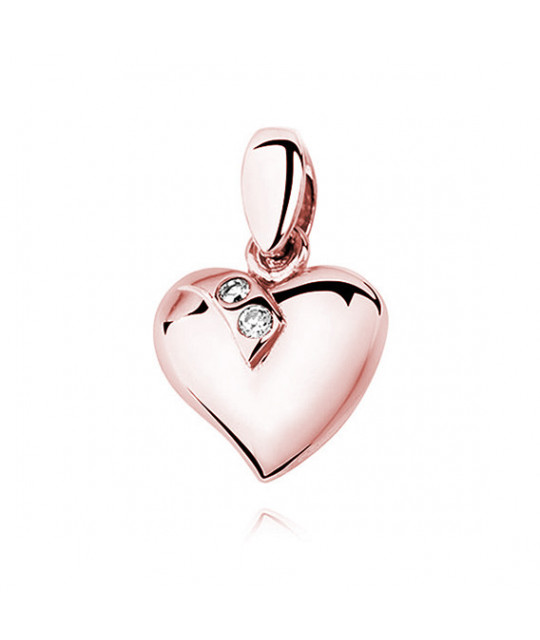 Silver rose gold-plated pendant, Heart decorated with two zircons
