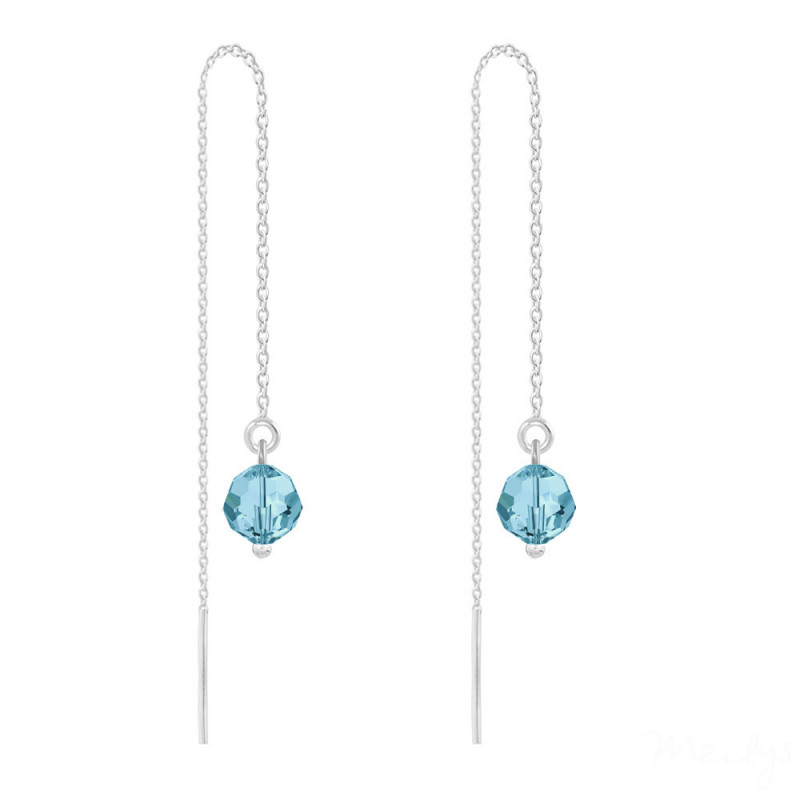 Silver Earrings Round Bead Chain, Aquamarine