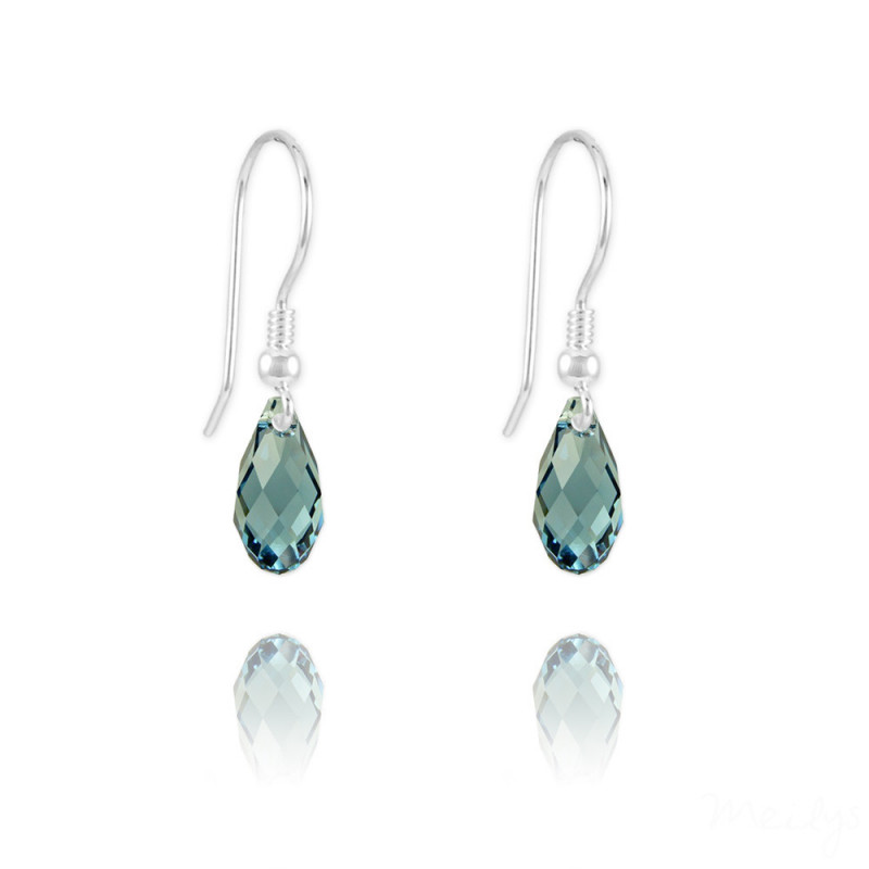 Silver Earrings Briolette, Denim Blue
