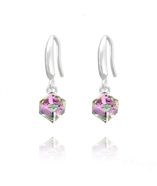 Silver Earrings Cube, Vitrail Light