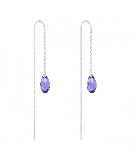 Silver Earrings Briolette Chain, Tanzanite