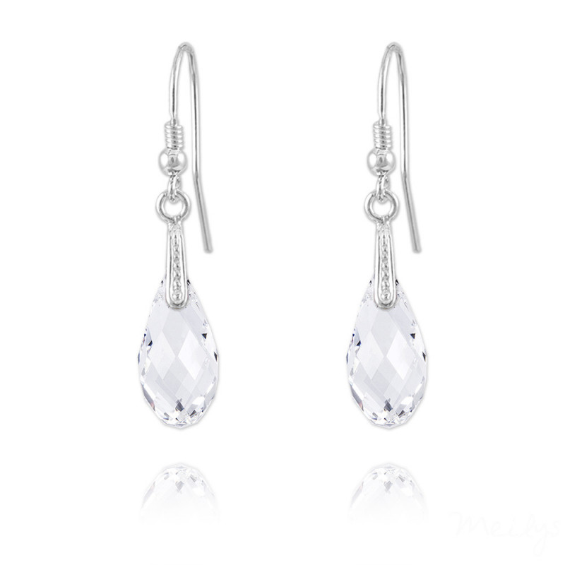 Silver Earrings Briolette, White