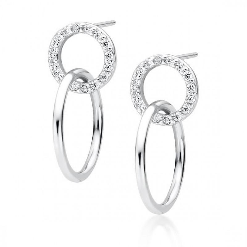 Серебряные серьги, Cirlces с цирконом