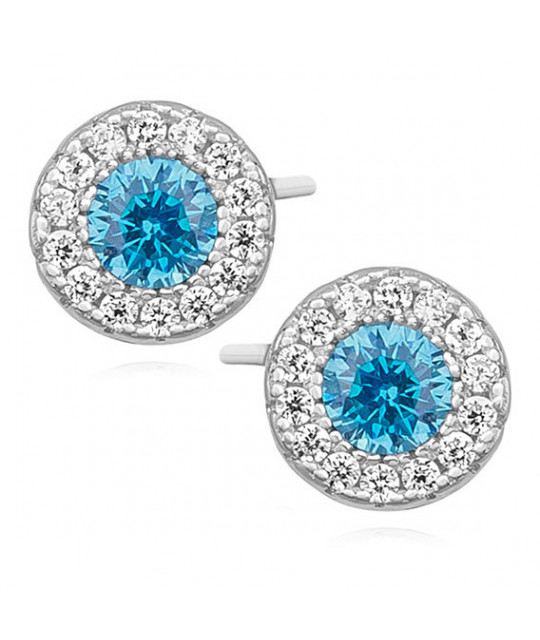 Silver elegant round earrings with zircon, Aquamarine