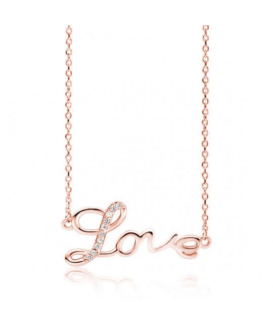 Серебряное колье с покрытием из розового золота, Love