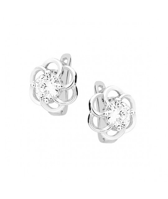 Silver elegant earrings, Flowers with white zircon