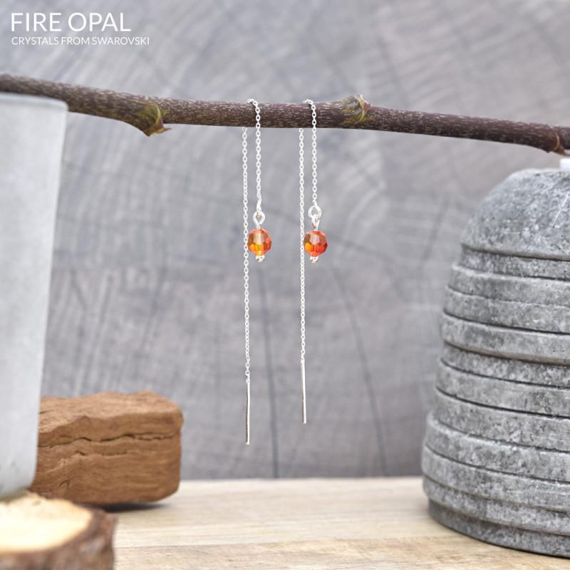 Silver Earrings Round Bead Chain, Fire Opal