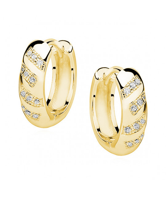 Yellow gold-plated silver earrings with zircon, Hoop