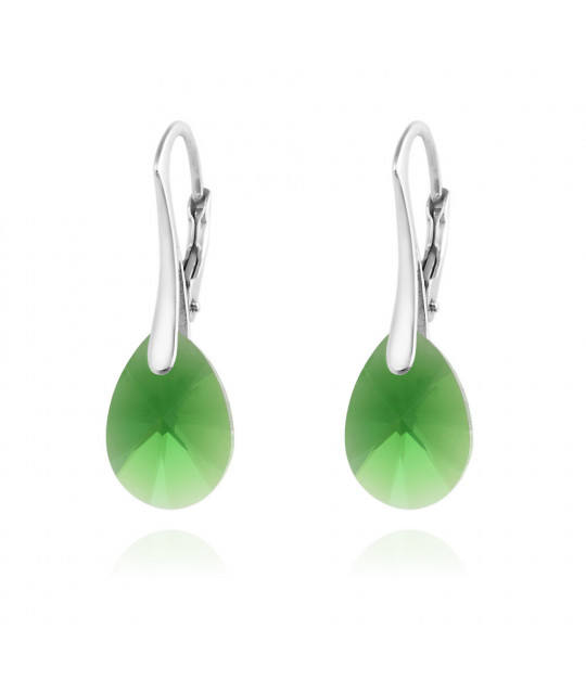 Silver Earrings Pear Xilion Cut, Dark Moss Green