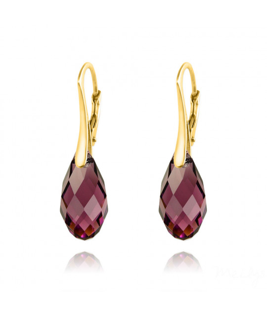 Gold Plated Silver Earrings Briolette, Amethyst