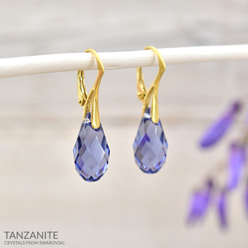 Gold Plated Silver Earrings Briolette, Tanzanite
