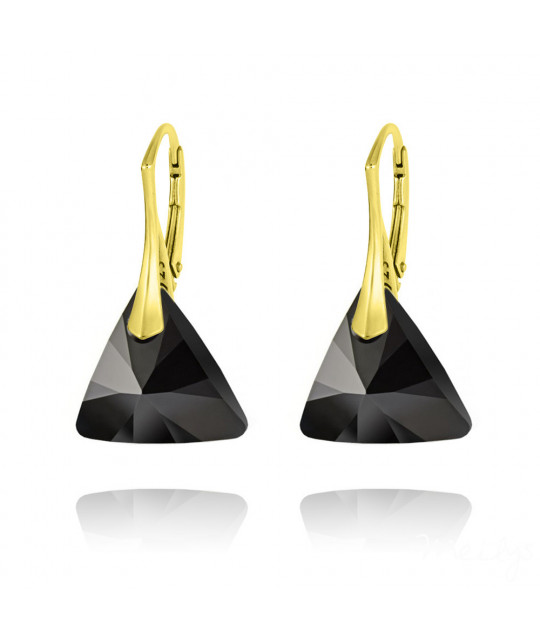 Gold Plated Silver Earrings Triangle Yellow, Jet