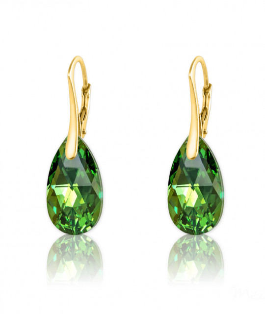 Gold Plated Silver Earrings Mini Pear, Peridot AB