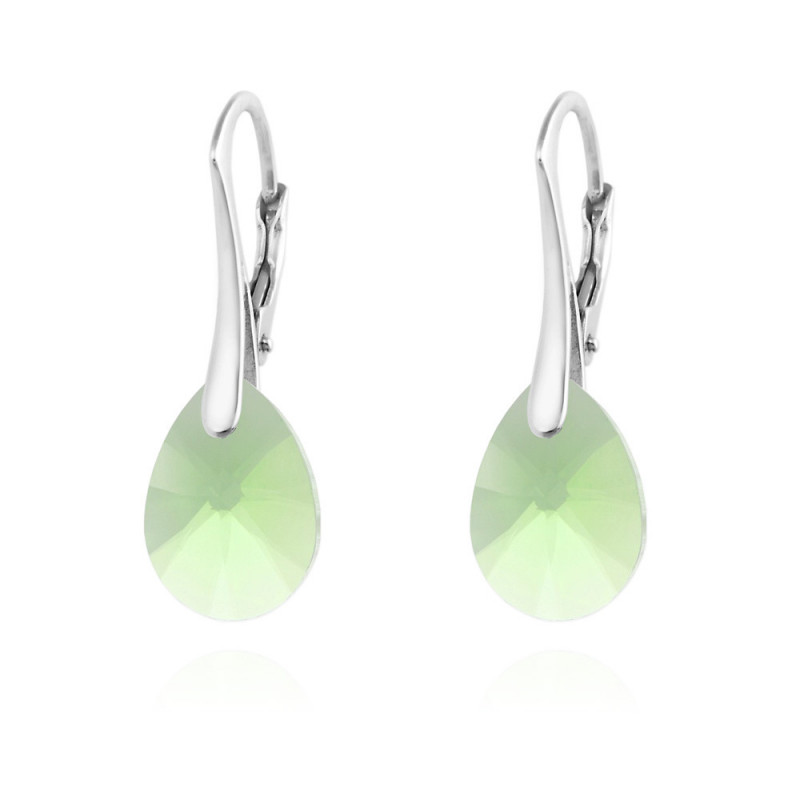 Silver Earrings Pear Xilion Cut, Peridot