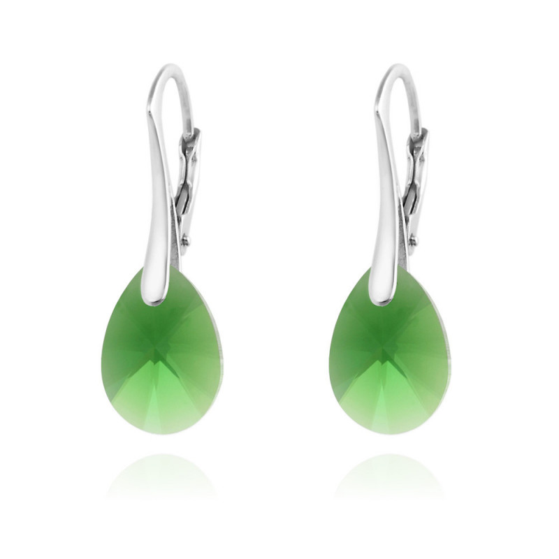 Silver Earrings Pear Xilion Cut, Dark Moss Green