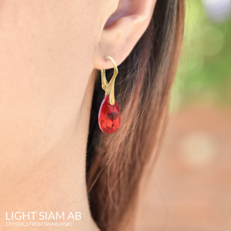 Gold Plated Silver Earrings Mini Pear, Light Siam AB