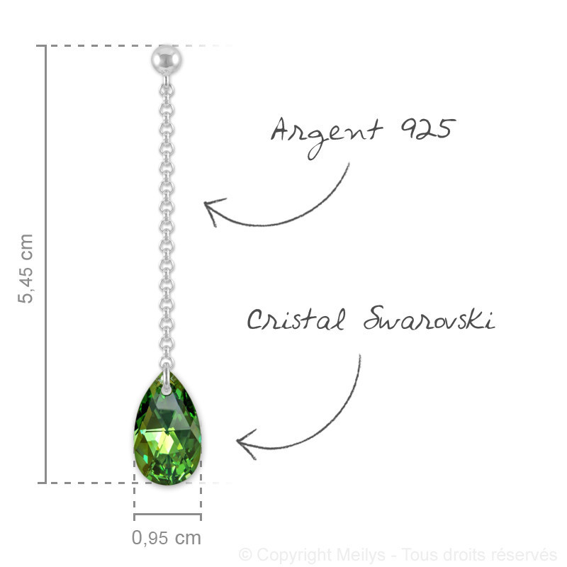 Silver Earrings Pear, Peridot AB