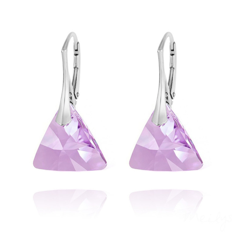 Silver Earrings Triangle, Violet