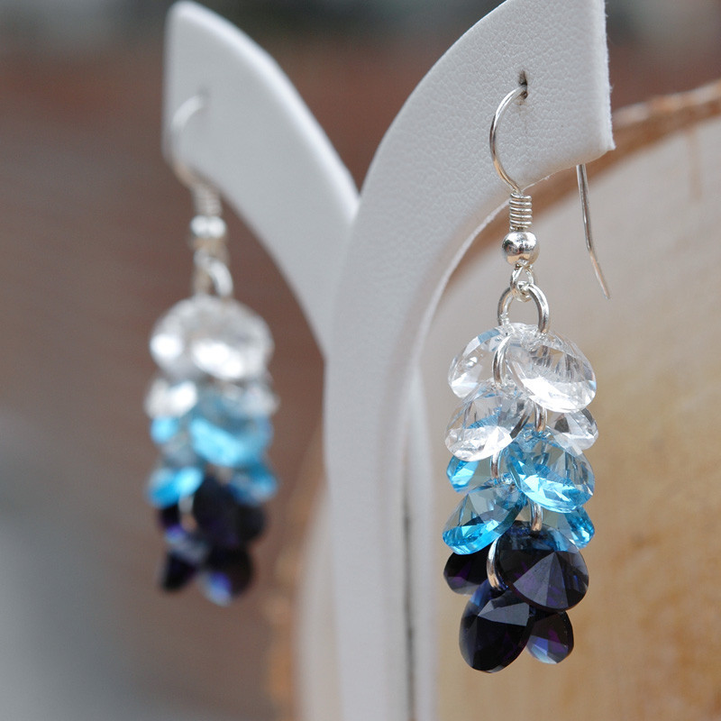 Silver Earrings Rivoli 3 Colors, Dark Indigo