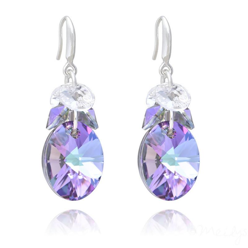 Silver Earrings Oval Xilion, Vitrail Light
