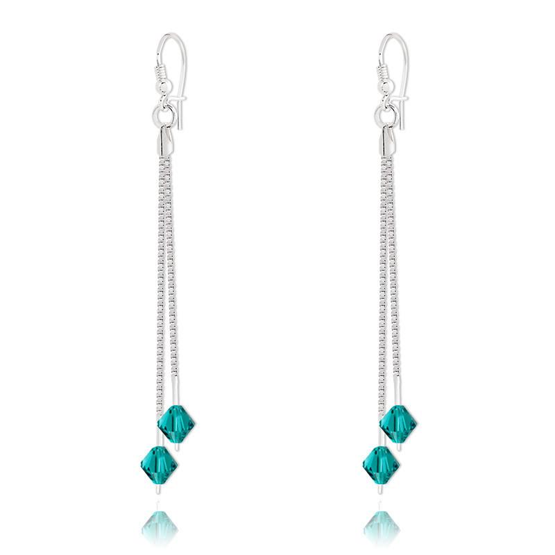 Silver Earrings Bicone, Blue Zircon