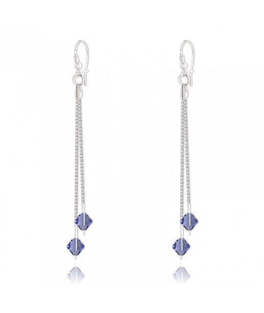Silver Earrings Bicone, Tanzanite