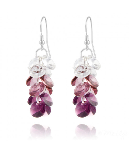 Silver Earrings Rivoli 3 Colors, Amethyst