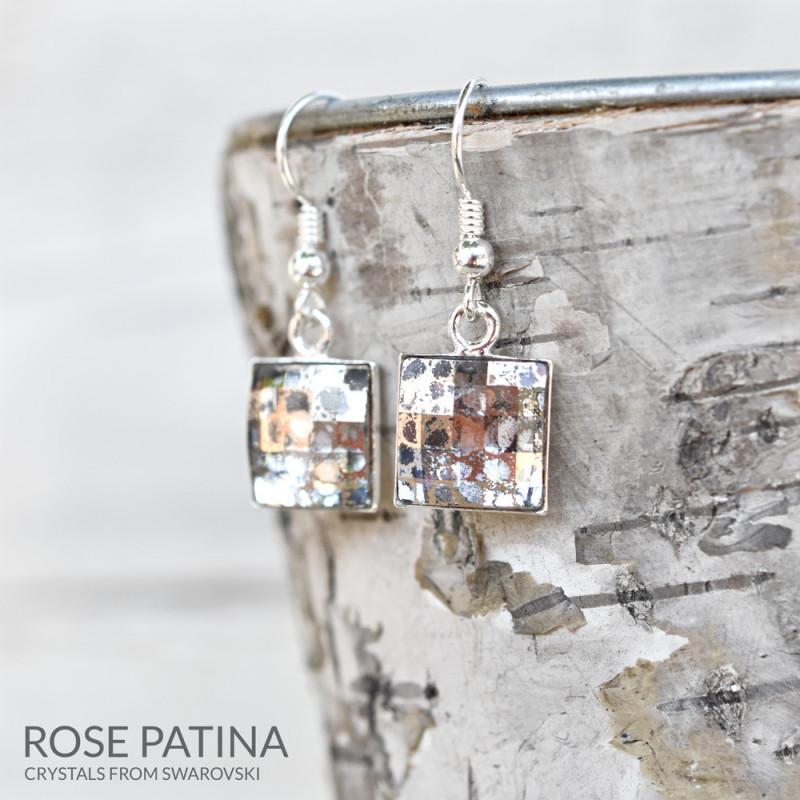 Silver Earrings Chessboard v2, Rose Patina