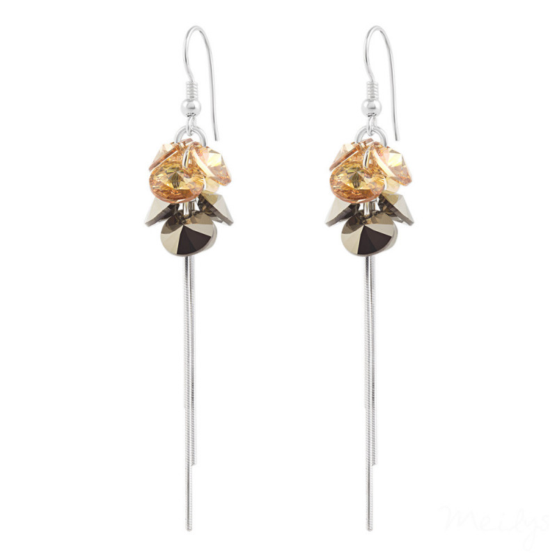 Silver Earrings Pompom Rivoli, Golden Shadow