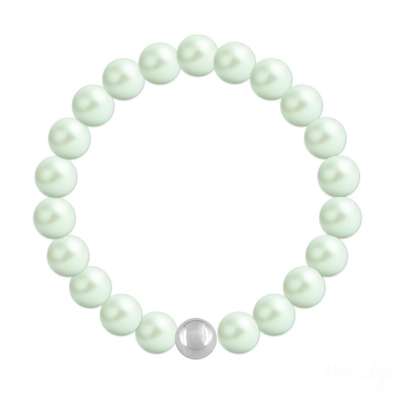 Silver Bracelet Nacreous, Pastel Green