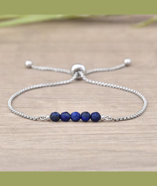Stainless Steel Bracelet Sofia, Lapis Lazuli