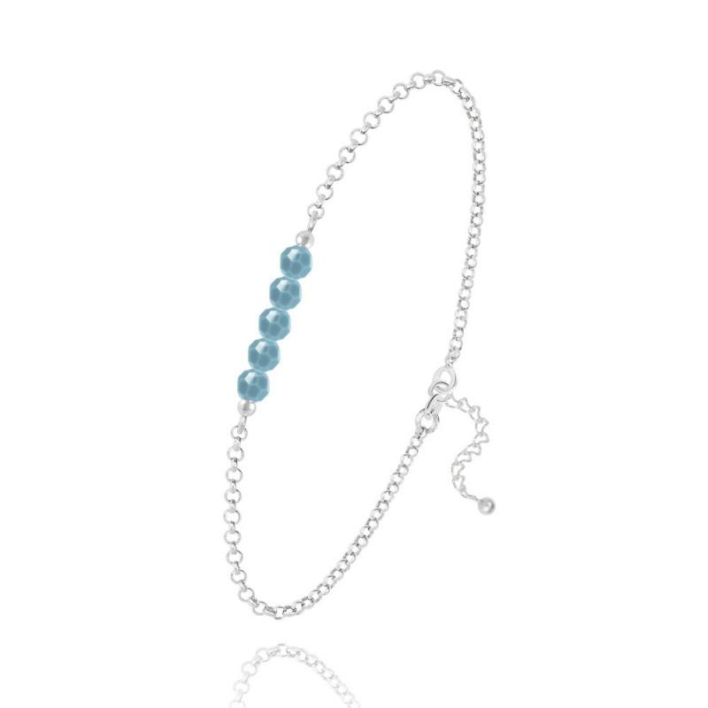 Hõbe käevõru 5 Faceted Beads, Turquoise