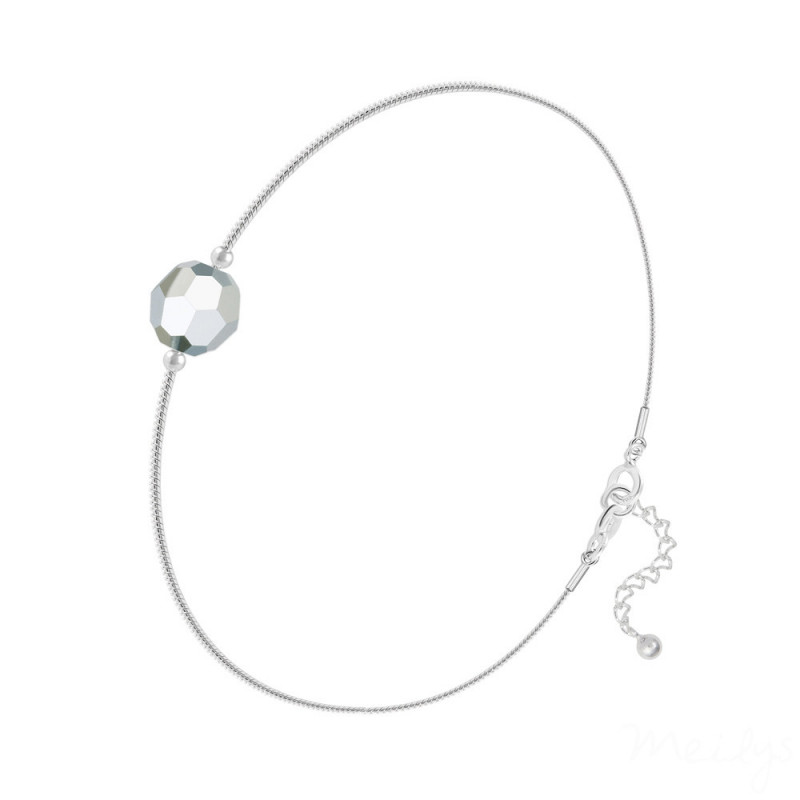 Silver Bracelet Faceted Bead, Cal Fc