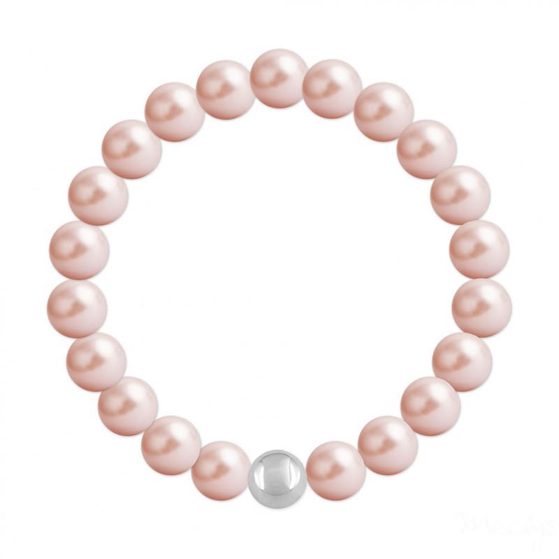 Silver Bracelet Nacreous, Rose Peach