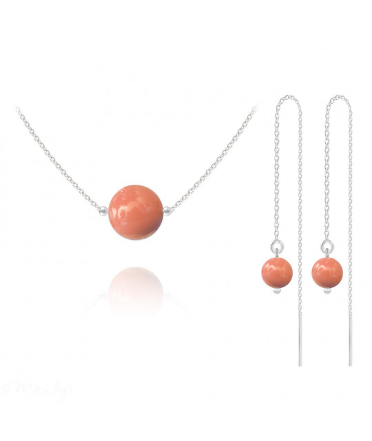 Silver Jewelry Set Nacreous Pearl, Coral