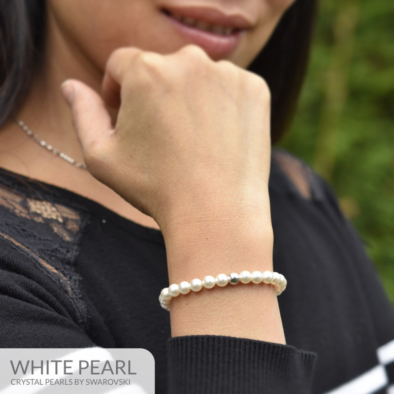 Silver Bracelet Nacreous, White