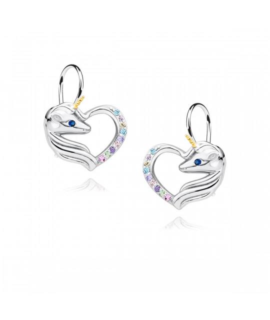 Silver earrings, Unicorn with various zircon