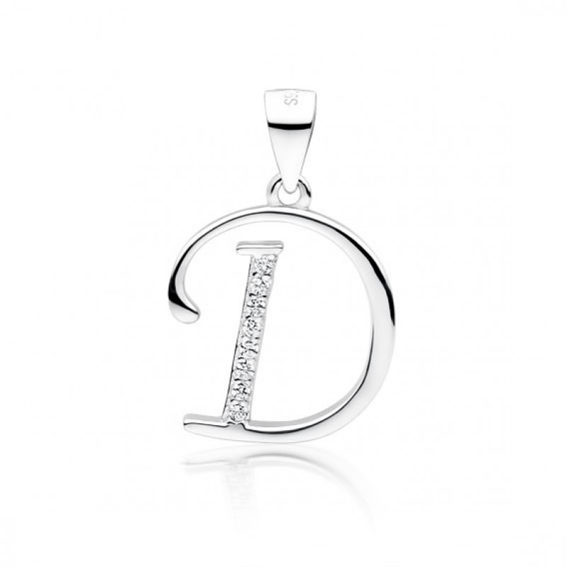 Silver pendant with white zirconia, letter D