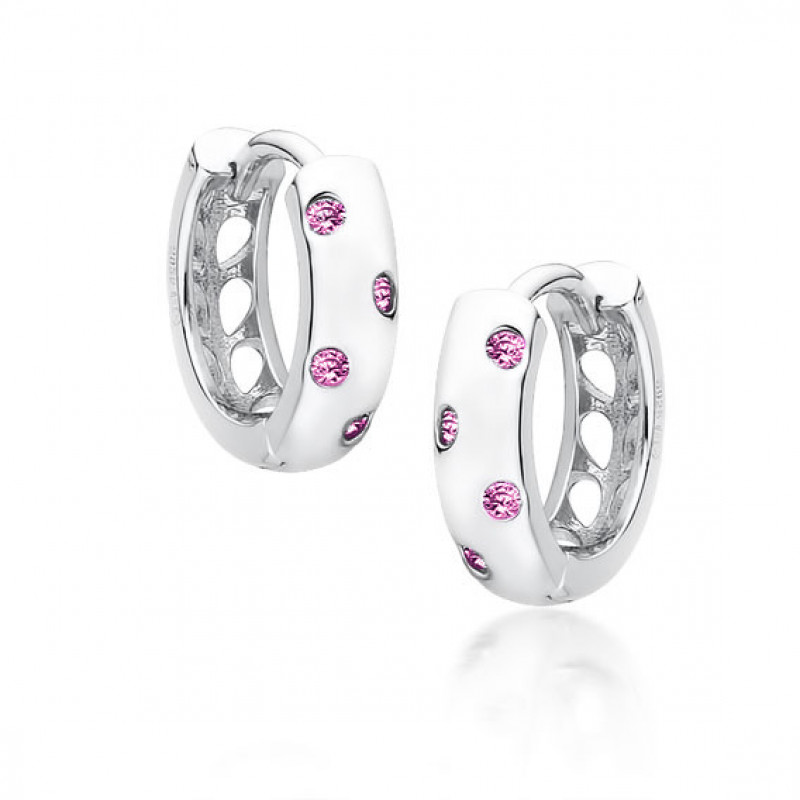 Silver earrings with pink zircon, Hoop