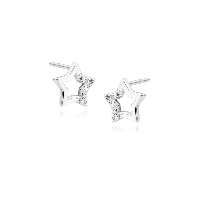 Silver earrings with white zircon, Star
