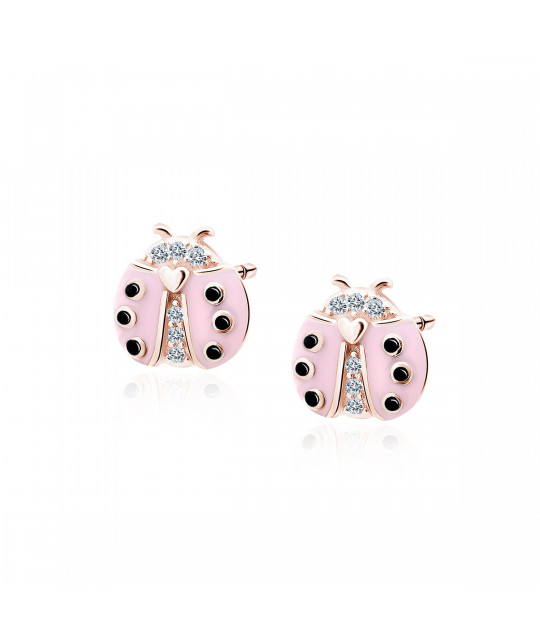 Silver earrings, Gold-plated pink ladybug