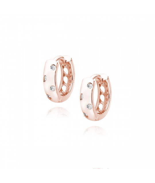 Silver rose gold-plated earrings with white zircon, Hoop