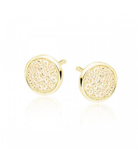 Elegant round earrings, 14k Yellow
