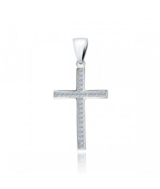 Silver pendant with white zircon, Cross