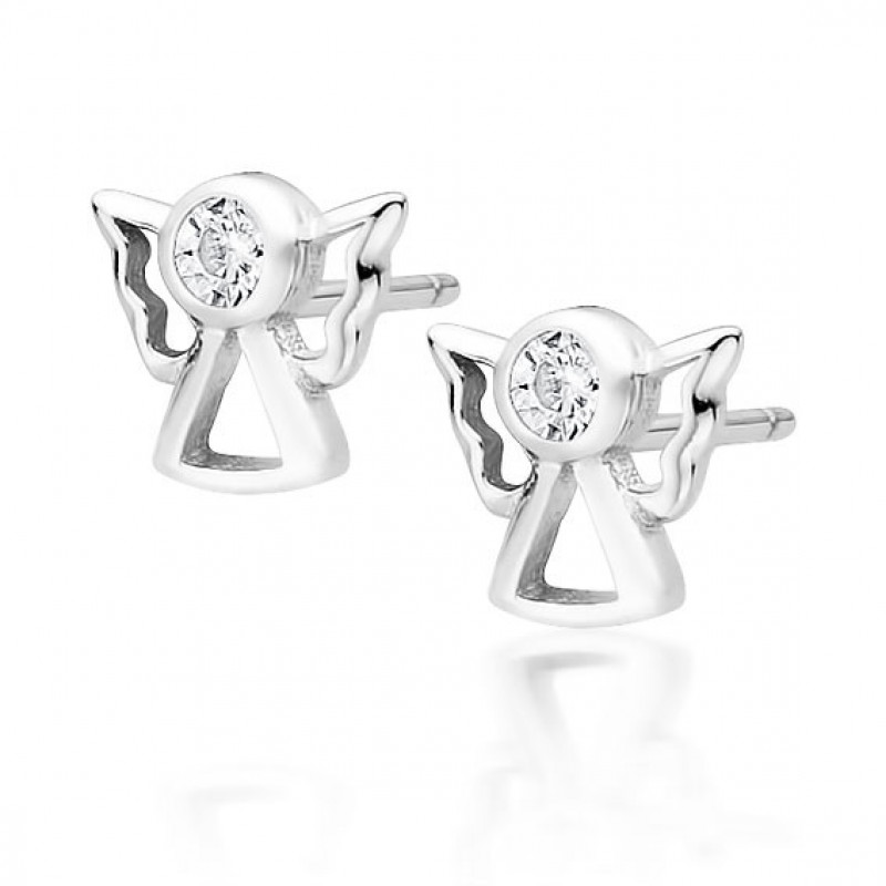Silver earrings with white zircon, Angels