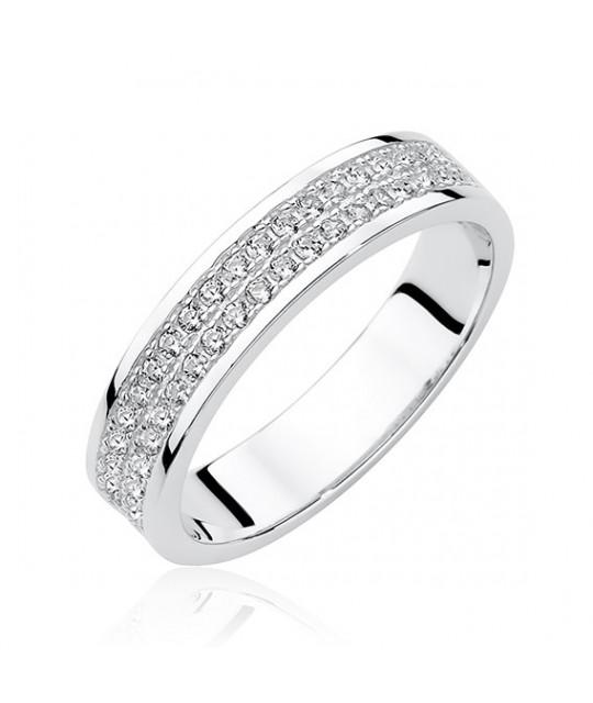 Silver ring with zircon, EU-16